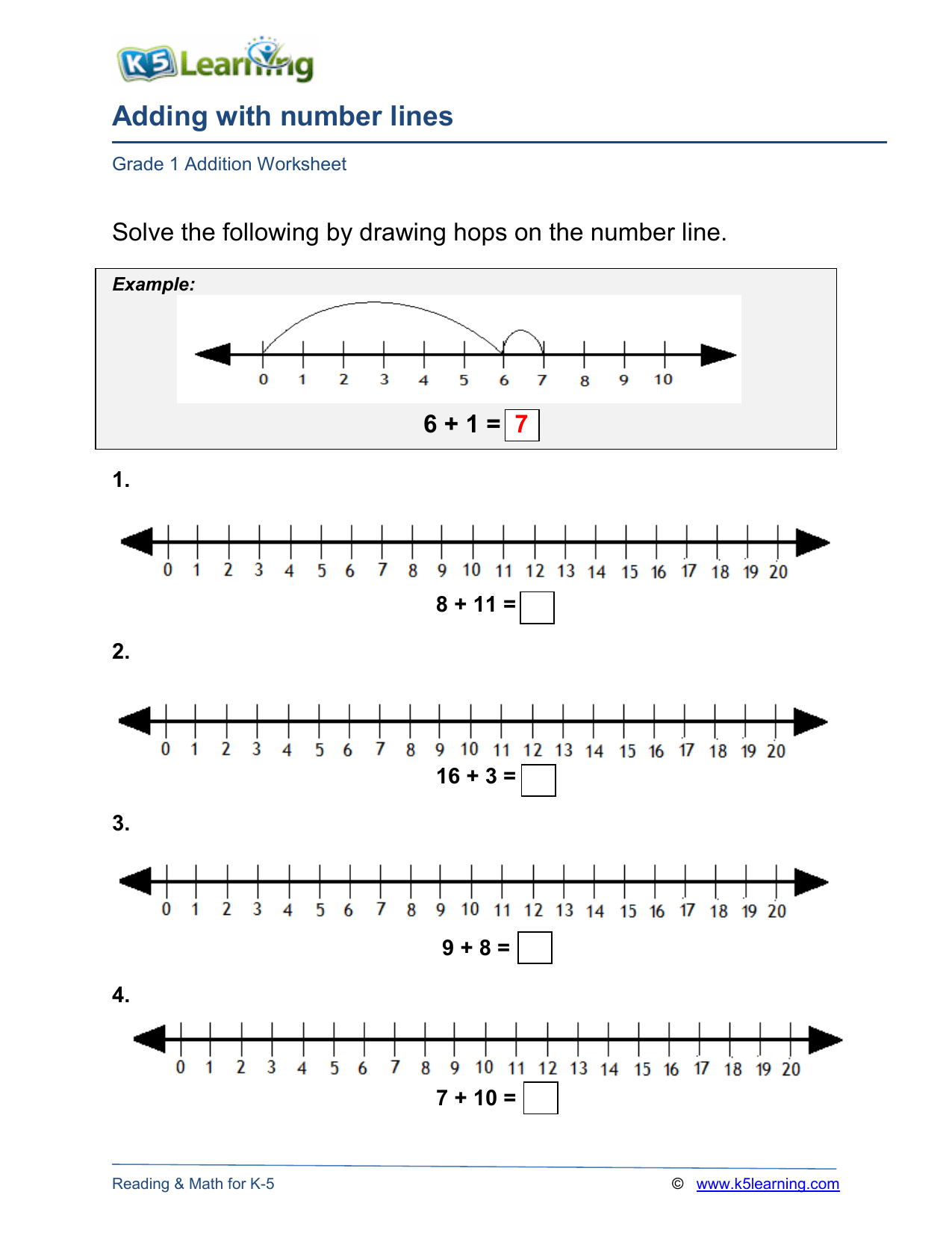 hight resolution of grade-1-number-line-addition-a4