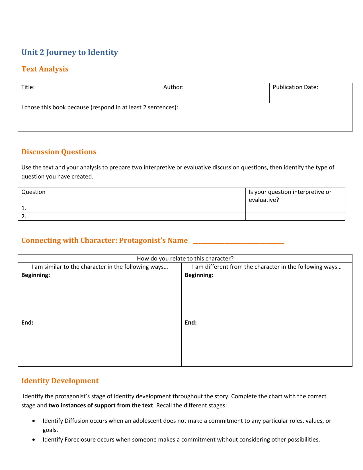 Textysis Worksheet