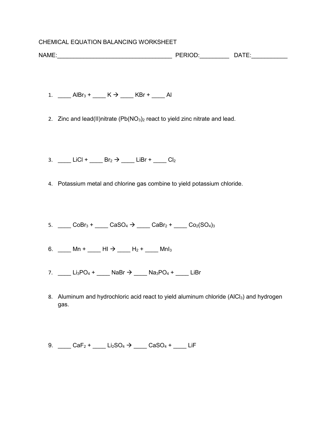 Chemical Equation Balancing