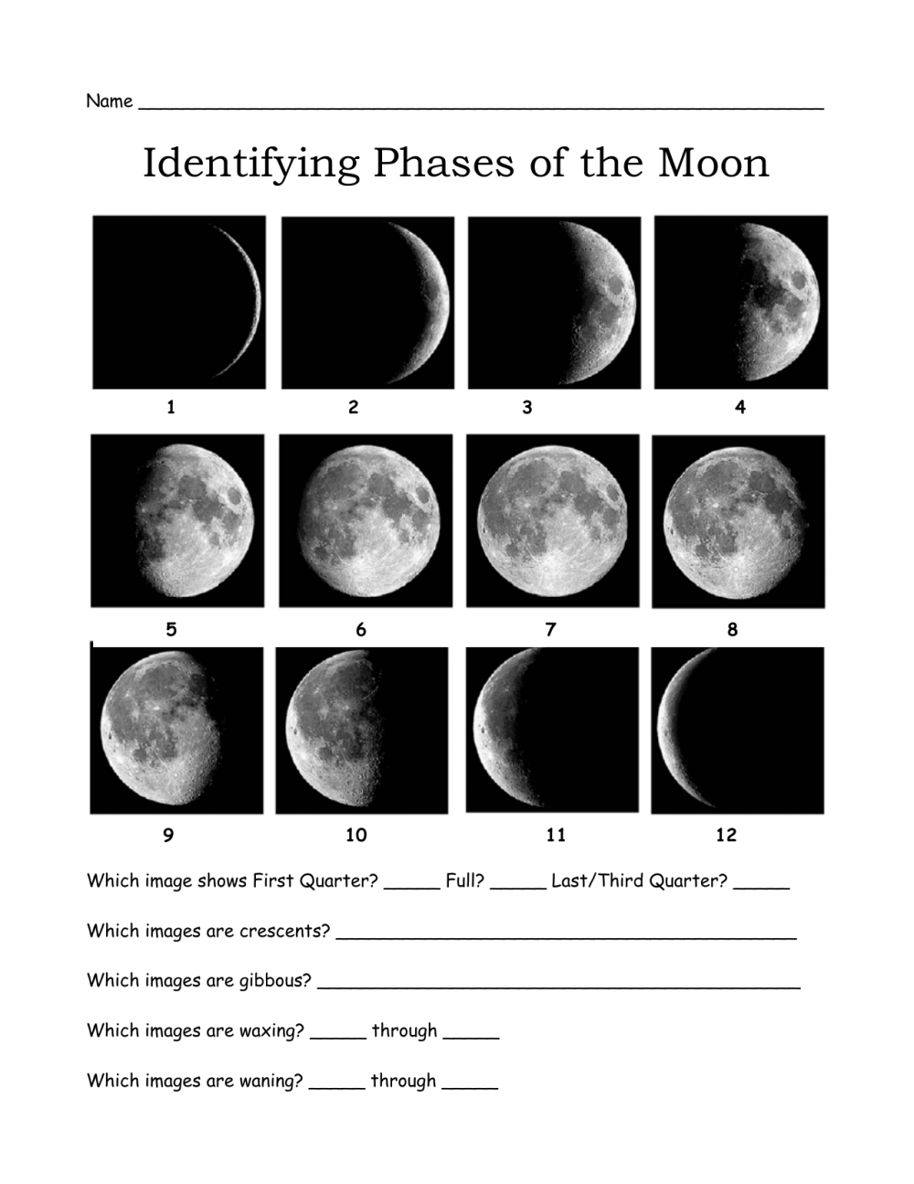 medium resolution of Moon+Phases+Worksheets