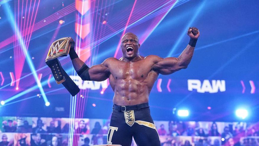 Бобби Лэшли с титулом чемпиона WWE на WWE Raw (22.02.2021) / WWE