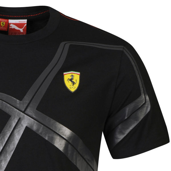 Puma Mens Ferrari Graphic TShirt  Black Clothing