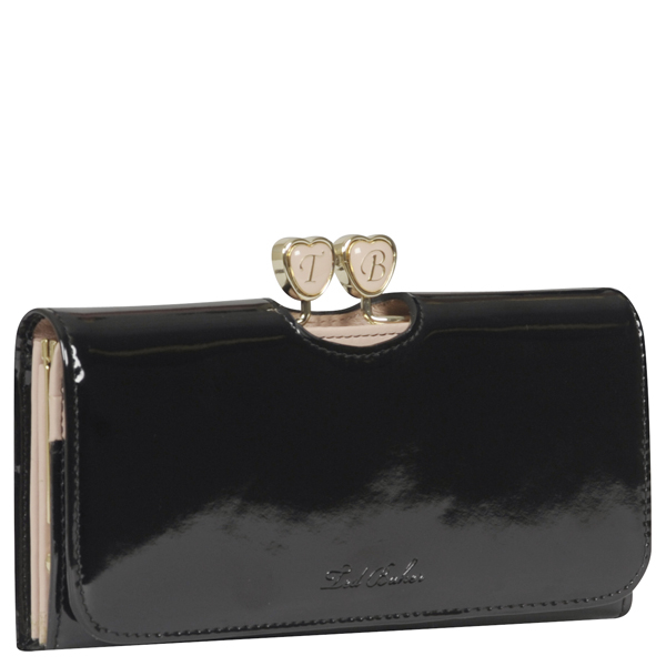 Ted Baker Ronnee Enamel Heart Matinee Purse Black Womens