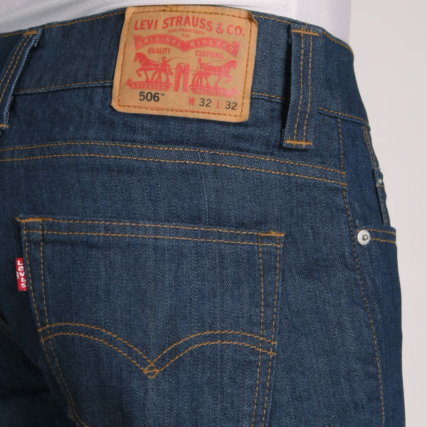 Levis Mens 506 Straight Leg Jeans Rinse Wash Mens