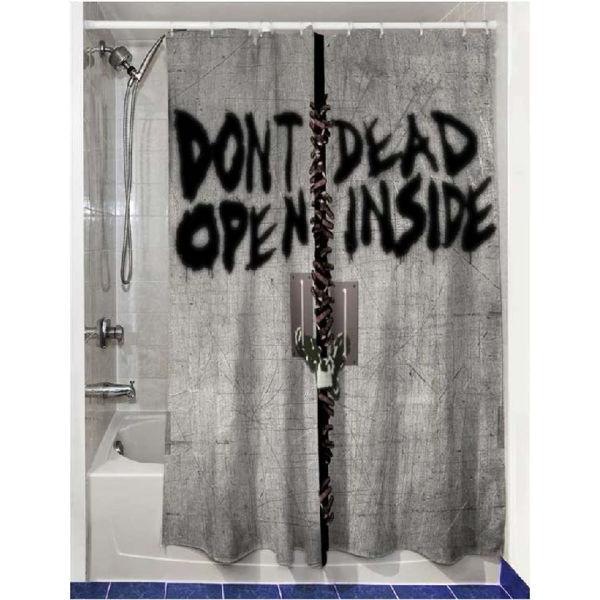 The Walking Dead Dead Inside Shower Curtain Merchandise Zavvi Com