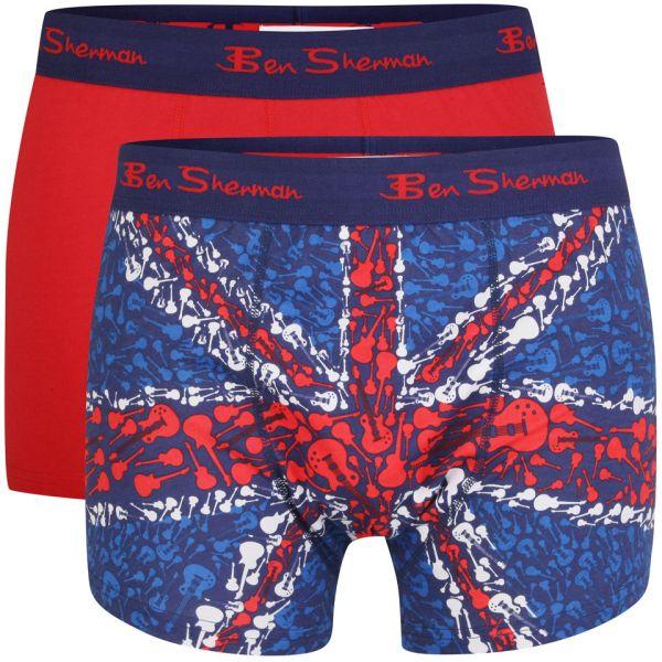 Ben Sherman Men' 2-pack Union Jack Boxer - Multi Red Mens