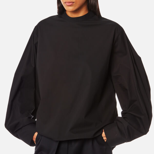 MM6 Maison Margiela Women's Oversized Sleeve High Neck Shirt - Black