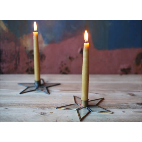 Nkuku Natema Star Candlestick - Antique Zinc