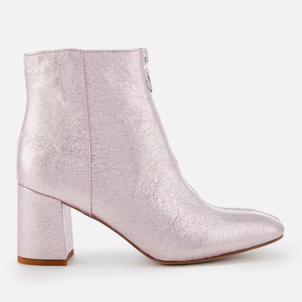 Rebecca Minkoff Women's Stefania Metallic Heeled Ankle Boots - Rock Pink