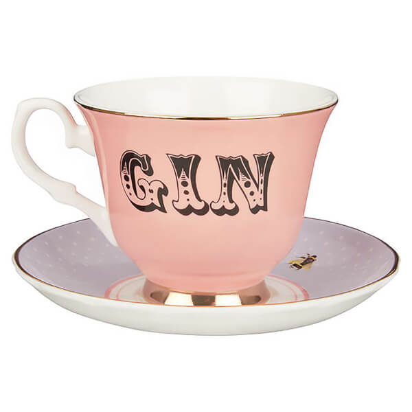 Yvonne Ellen Gin Teacup and Saucer - Pink