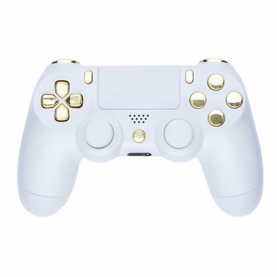 PlayStation DualShock 4 Custom Controller White Amp Gold