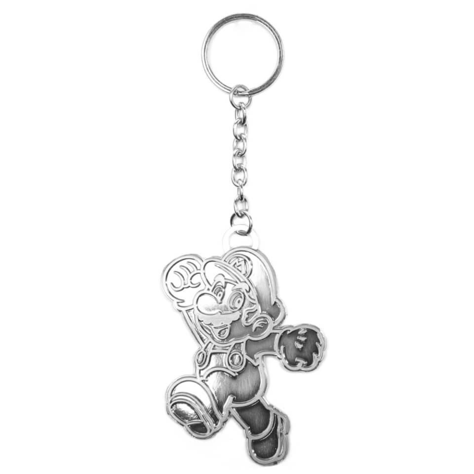 Silver Mario Metal Keychain Nintendo Official UK Store