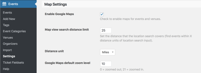 Screentshot: Events → Settings → Map Settings → Enable Google Maps