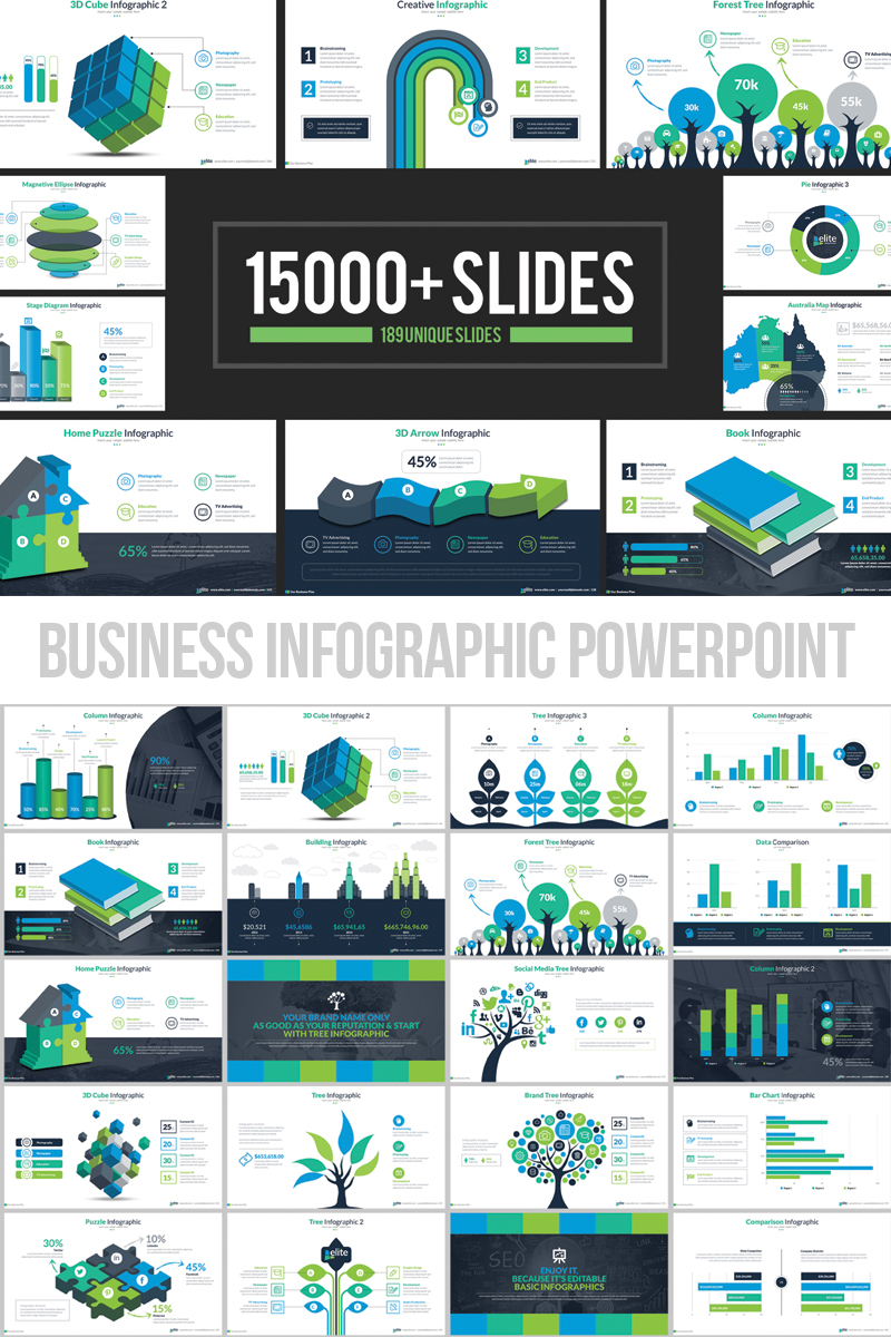 Business Infographic Presentation PowerPoint Template #66340