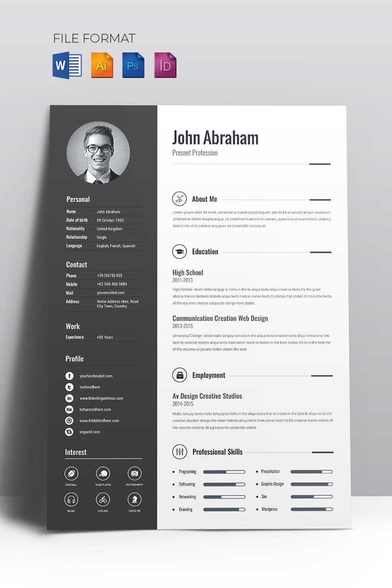 Minimal Creative CV Resume Template #67714