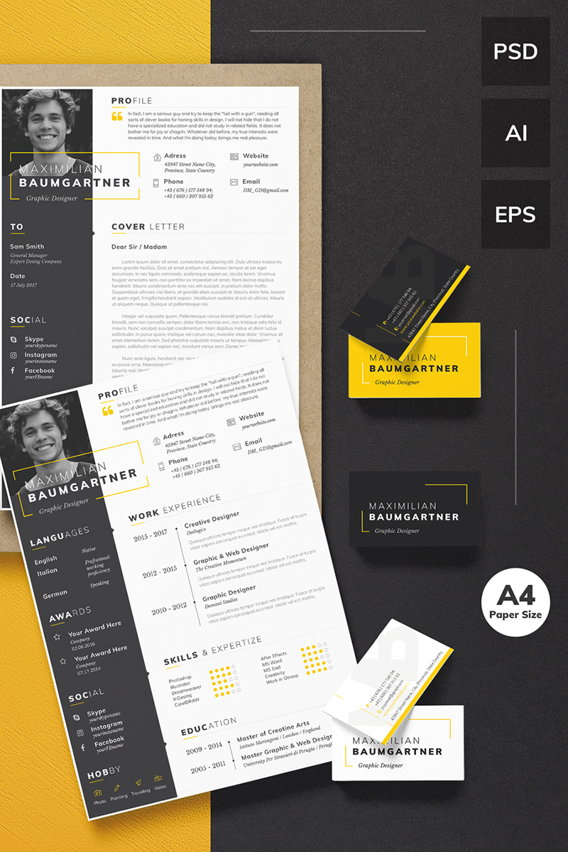 Maximilian Baumgartner - Graphic Designer Resume Template Big Screenshot