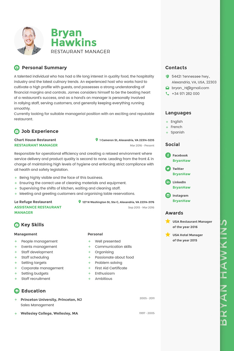 Manager Resume Template Bryan Hawkins Restaurant Manager Resume Template 64864