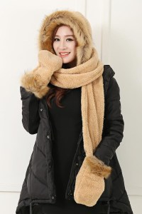 Women Hat Winter Soft With Long Scarf Mittens Ski Attached