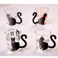 Creative Cat Glass Mug Cup Tea Cup Milk Cup Coffee Cup ...