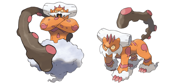 Screenshot of the legendary Pokemon Landorus Incarnate and Therian forms.