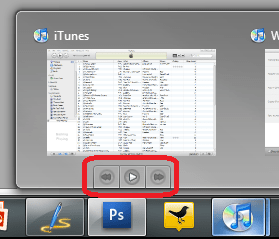 iTunes Windows 7 Superbar Quick play