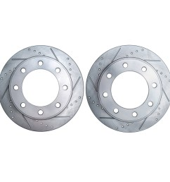 pair 2 331mm drilled slotted front brake rotors for 4wd [ 5000 x 5000 Pixel ]