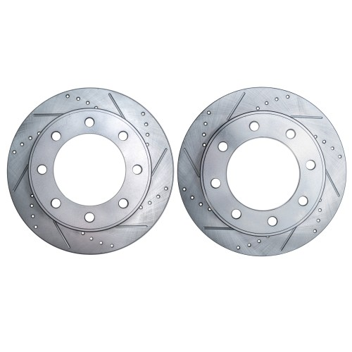 small resolution of pair 2 331mm drilled slotted front brake rotors for 4wd