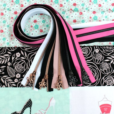 Glam Girl Fabric & Zipper Bundle - mint