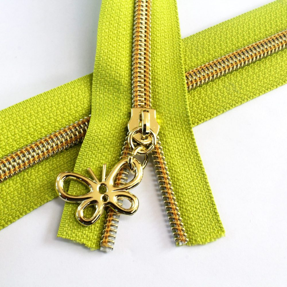 Apple Green Zipper With Gold Coil