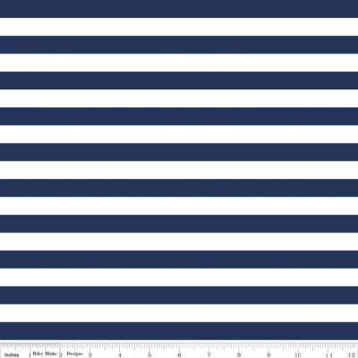 """Stretch Jersey Knit 1/2"""" Navy Stripes"""