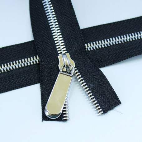 Black #5 Metal Zipper Tape with Silver Teeth
