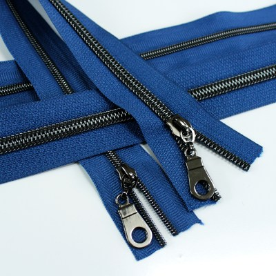 #3 and #5 jean blue zipper tape with gunmetal coil