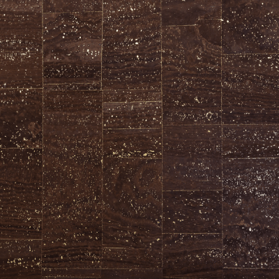 Cork fabric brown with gold