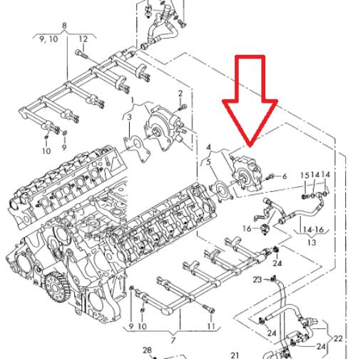 Fuel pump rebuild seals kit for VW Touareg 5.0TDI 7LA 7L6