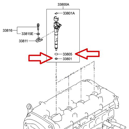Diesel Injektor Scheibe O-Ringe Kit Dichtungen Kia Hyundai