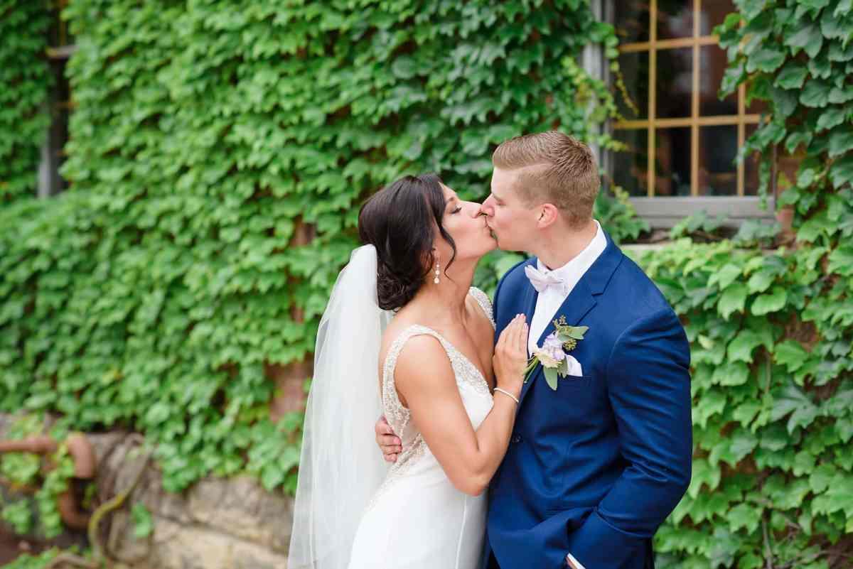 Dubuque ivy wall wedding photo