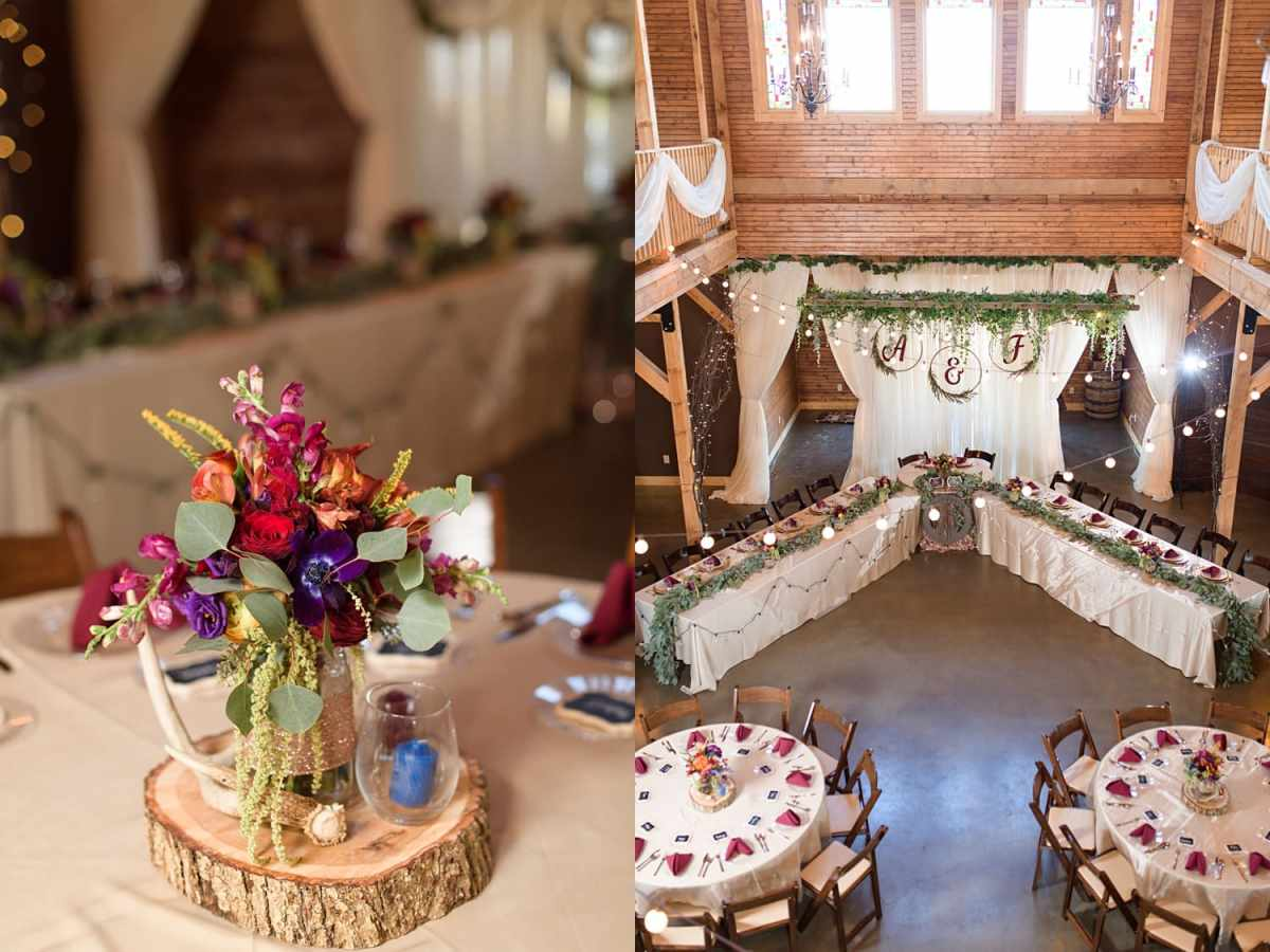 sugar grove fall wedding reception