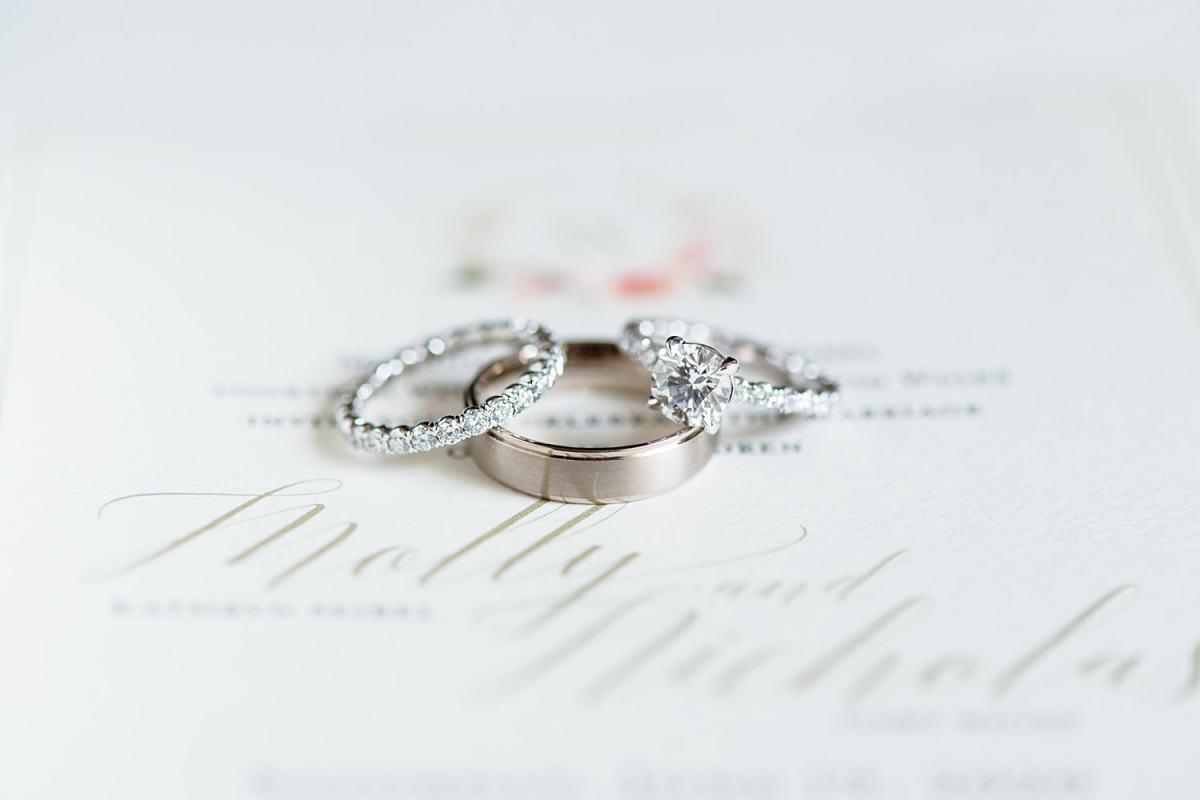 wedding ring set on white invitation