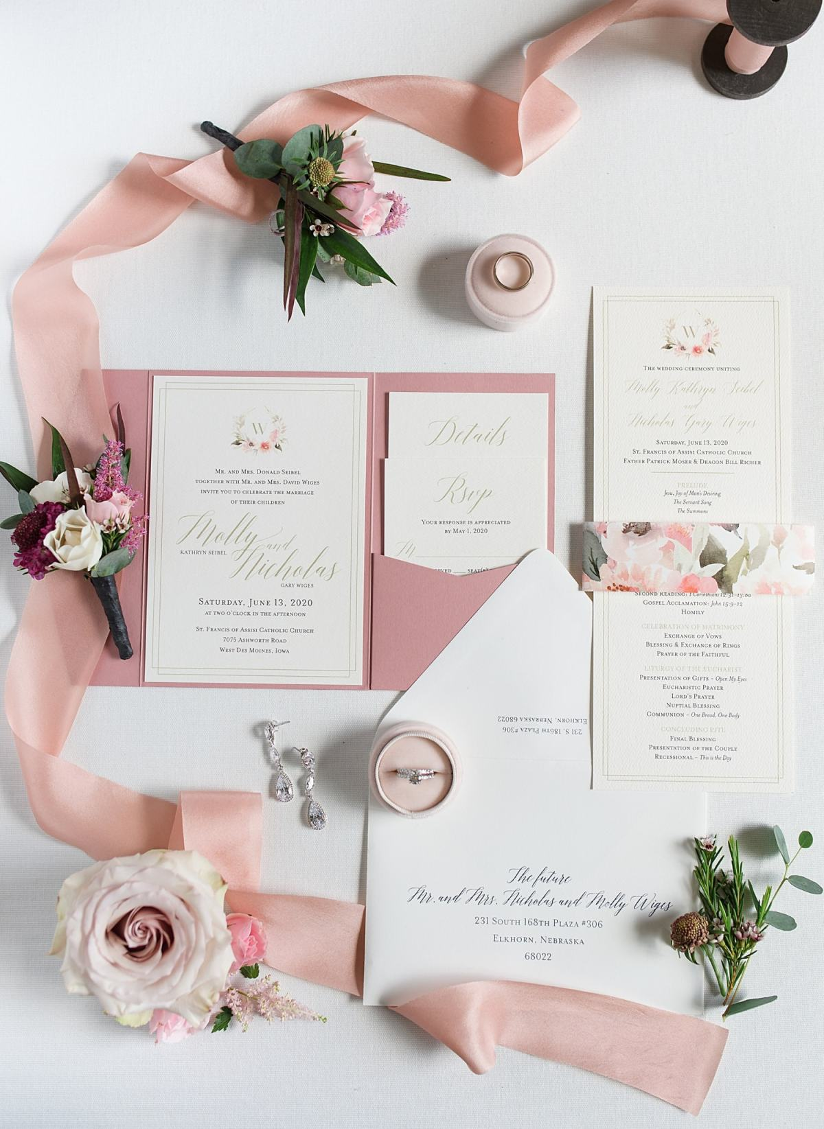 pink hand painted wedding invitation with florals