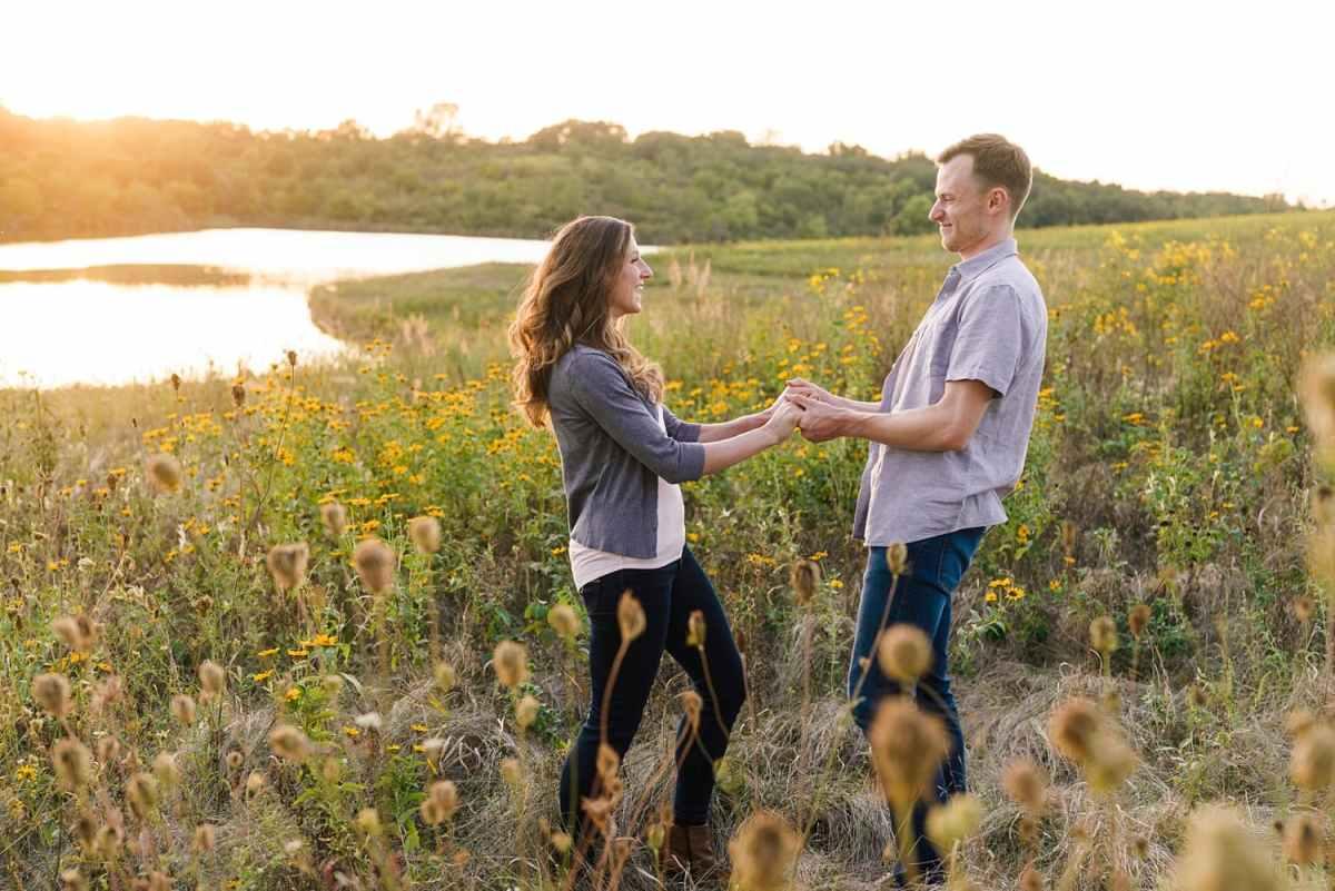 summer prairie engagement photos