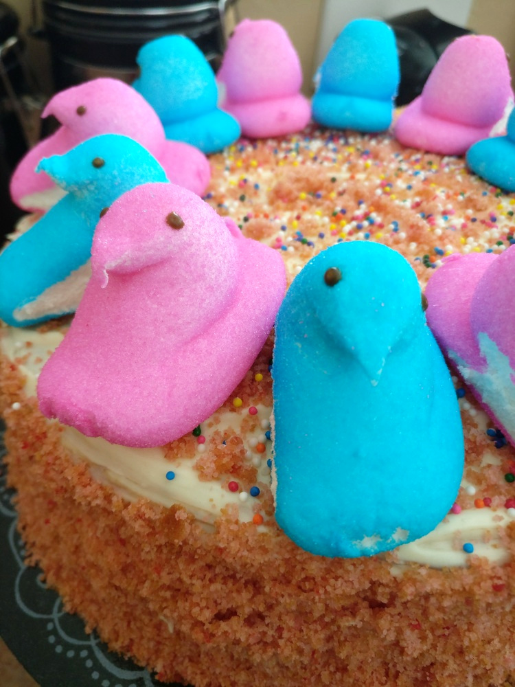easter, cake, easy, DIY, peeps, sprinkles, cake mix, pillsbury, betty crocker, wilton, pans, bake, chocolate, cream cheese, strawberry, holiday, food, dessert, do it yourself, food processor, crumbs, simple, yummy, lifestyle, motherhood, for kids, party, pastry, april, frosting, marshmallows