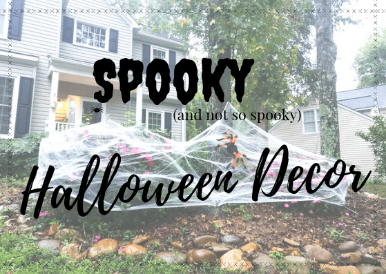 spooky, not so spooky, halloween, decor, decorations, mummy door, giant spider web, knick knacks, diy, do it yourself, affordable, dollar, store, walmart, target, easy, frugal, streamer, googly eyes, big spider, spider web, pumpkin, skull glass, jar, shelf, lifestyle, holiday, momblogger, cute, scary, non scary, 2018, little conquest