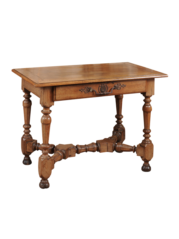 louis xiv console table with 1 drawer turned legs cross stretcher