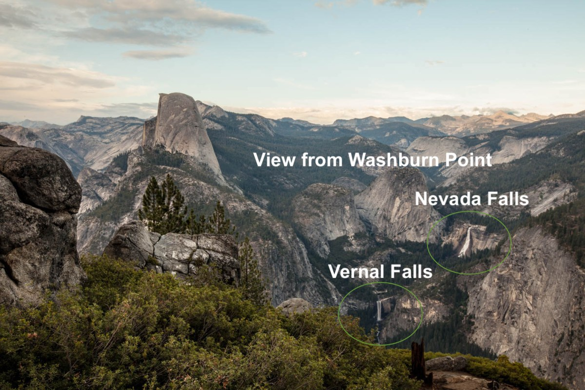 View of the Mist Trail, Vernal, and Nevada Falls from Washburn Point in Yosemite National Park #vezzaniphotography