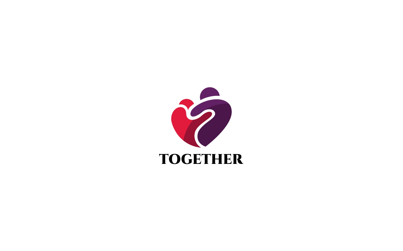Together Logo Template - 2 People in a pink and purple heart