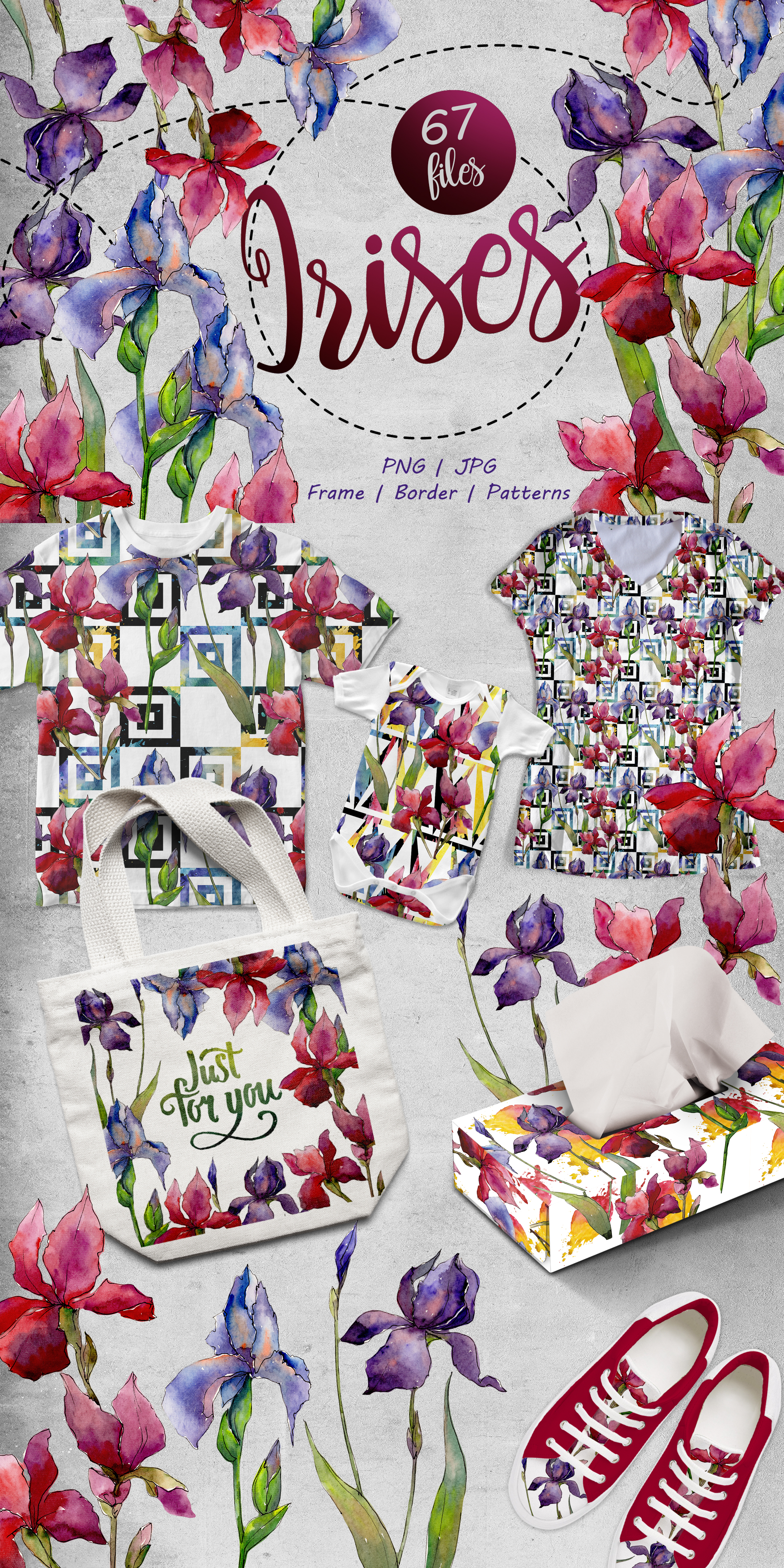 Colorful Irises PNG Watercolor Set Illustrations