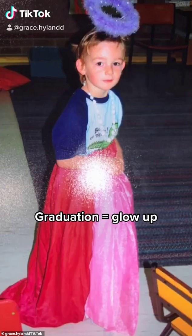 Creciendo: Grace, la hija transgénero de la ex estrella de Home and Away Mat Stevenson, ha compartido su increíble entusiasmo en TikTok.  Representado como un niño