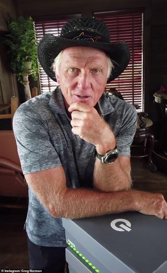 'Fue bastante divertido': Greg Norman, de 65 años, (en la foto) admitió que encontró que el frenesí en las redes sociales que rodeaba su traviesa foto en la playa de noviembre pasado fue 'hilarante', y le dijo al Herald Sun que 'fue bastante divertido '