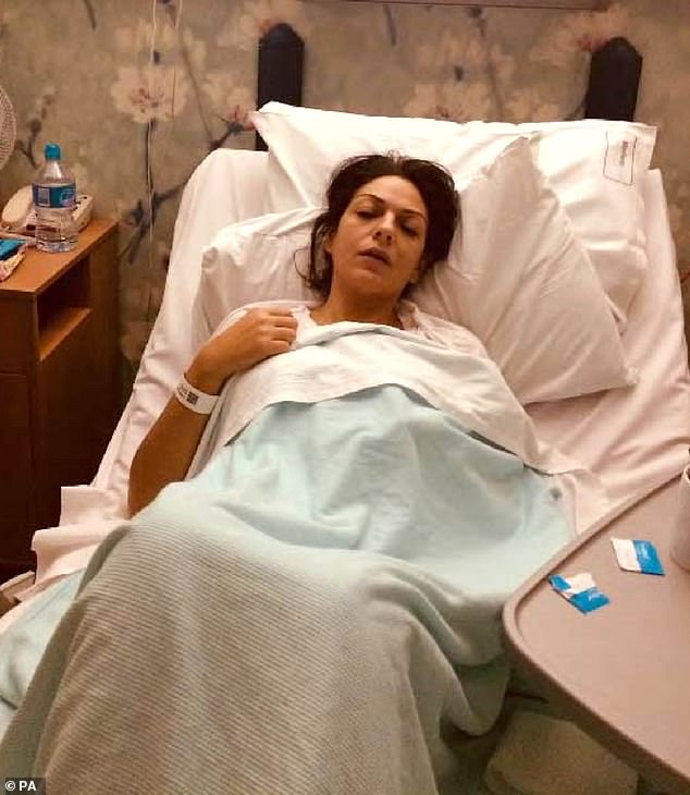 Eyes closed, her brow seemingly furrowed in pain, the slightly built young woman lying propped against the crisp white linen of the hospital bed appeared the image of vulnerability. The photograph, posted online, made it clear this was someone in desperate need. Pictured: Nicole Elkabbas