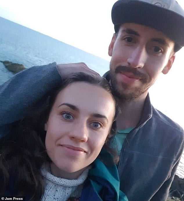 Rachel Horne, 26, from England, met her now husband Florian Roquais, 26, during a solo trip in Spain two years ago. After three days, Rachel returned to England and quit her job to embrace a nomadic lifestyle with Florian (pictured together at the coast)